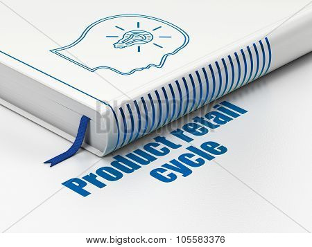 Marketing concept: book Head With Lightbulb, Product retail Cycle on white background