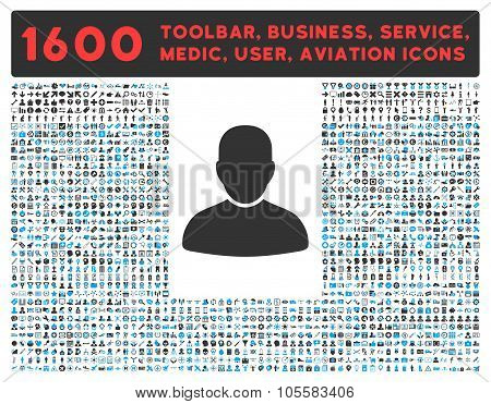 Customer Icon with Large Pictogram Collection