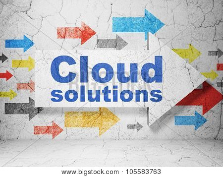 Cloud technology concept: arrow with Cloud Solutions on grunge wall background