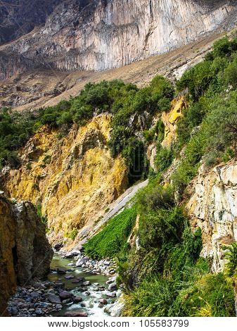 Colca River on the bottom of canyon