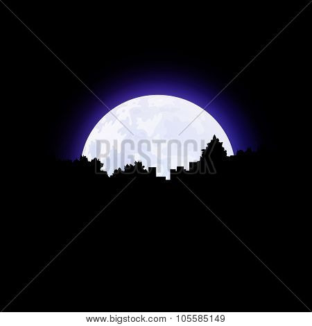 Moon And City On Horizon