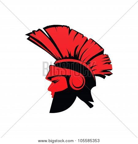 Trojan Spartan Warrior With Helmet In Red Color, Flat Vector Illustration