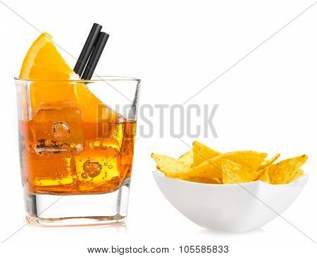 Hot Tacos Chips In Front Of Glass Of Spritz Aperitif Aperol Cocktail With Orange Slices And Ice Cube
