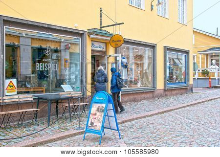 Porvoo. Finland. Chocolate Factory Shop in the Old Town