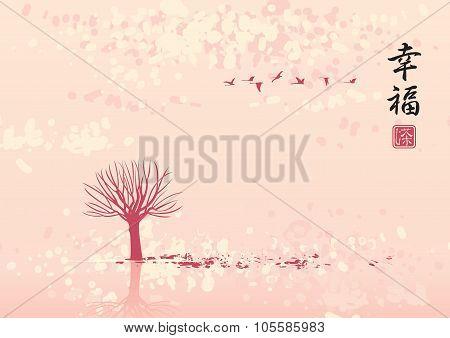 Autumn Landscape In Flocks Of Birds