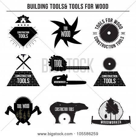 Set of building tools and tools for wood and logo badges, stickers .