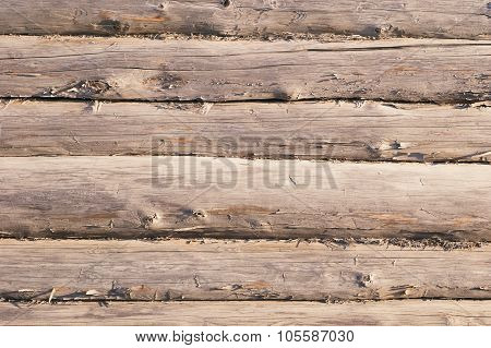 Aged Wooden Log Wall With Cracked Surface