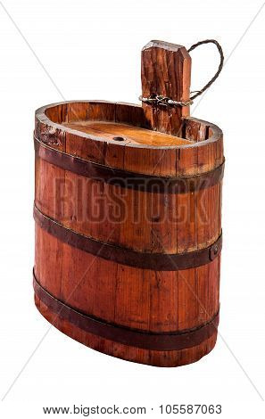 Old Vintage Barrel For Water Saving Isolated On White Background