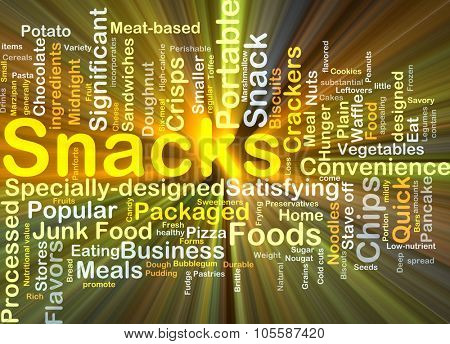 Background concept wordcloud illustration of snacks glowing light
