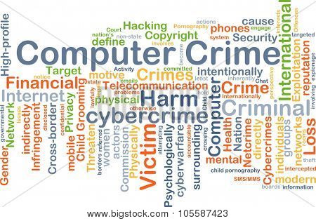 Background concept wordcloud illustration of computer crime