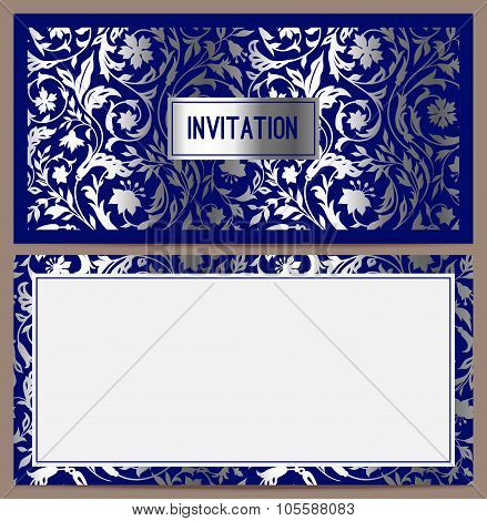Horizontal luxury invitation with a pattern of stylized field of silver colors on a blue background.