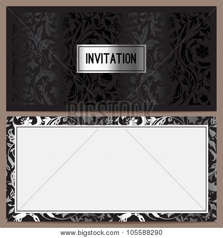 Horizontal luxury invitation with a pattern of stylized wild flowers on a black background.