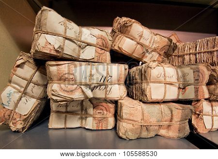 Selective Focus On Bundles Of Retro Banknotes In Bank