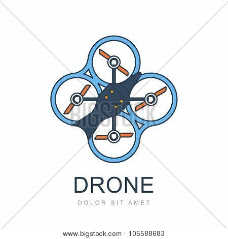 Colorful Illustration Of Flying Drone.
