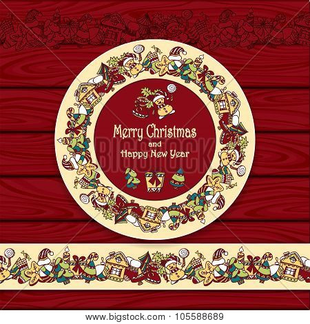 Circle frame and border from Christmas  elements on red wood background