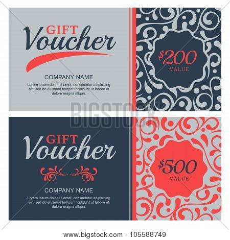 Vector Gift Voucher With Flourish Ornament Background.