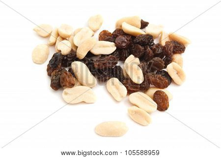 Heap Of Peanuts And Raisins