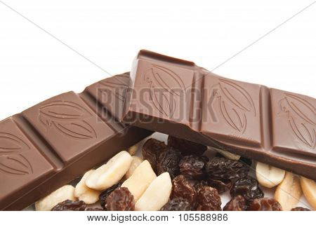 Raisins, Peanuts And Chocolate Bar