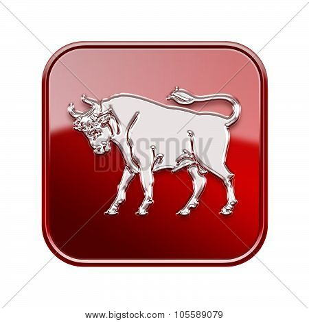 Taurus Zodiac Icon Red, Isolated On White Background