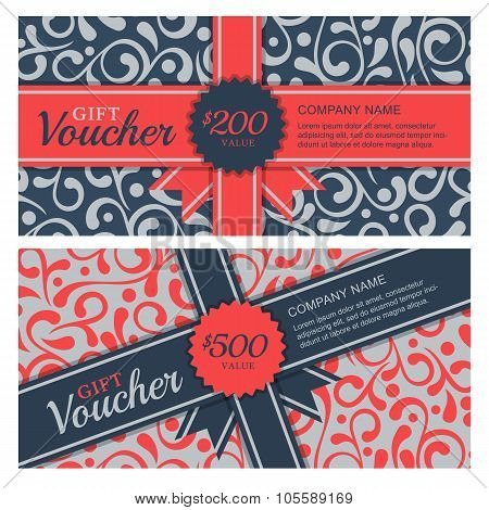 Vector Gift Voucher With Flourish Ornament Background And Ribbon.