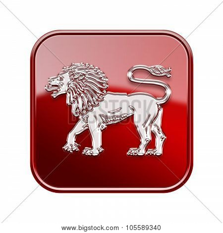 Lion Zodiac Icon Red, Isolated On White Background