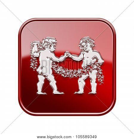 Gemini Zodiac Icon Red, Isolated On White Background