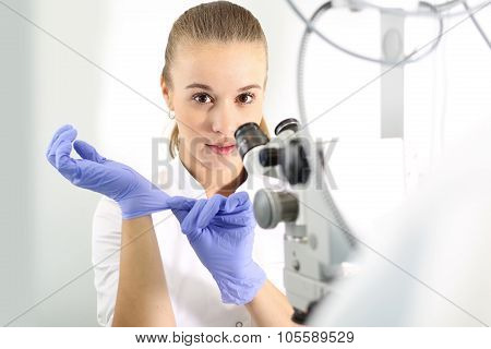 Young attractive doctor ophthalmologist at an ophthalmologist