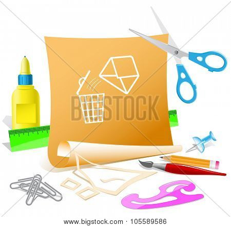 open mail with bin. Paper template. Raster illustration.