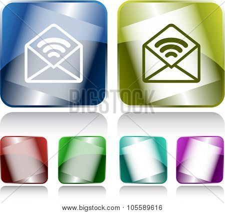 open mail with sound. Internet buttons. Raster illustration.