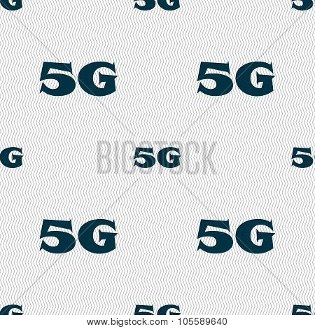 5G Sign Icon. Mobile Telecommunications Technology Symbol. Seamless Abstract Background With
