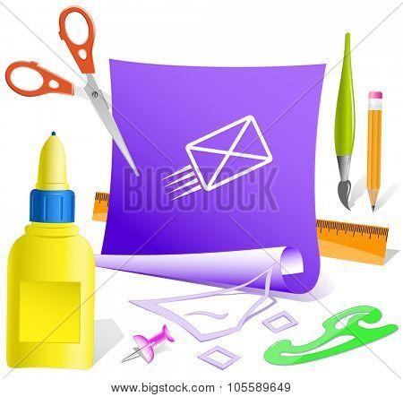 send mail. Paper template. Raster illustration.