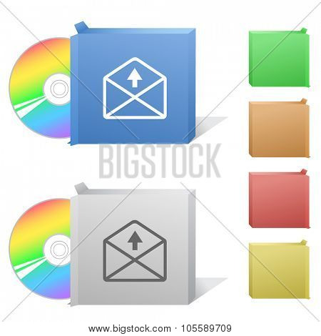 mail up arrow. Box with compact disc. Raster illustration.