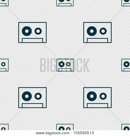 Cassette Sign Icon. Audiocassette Symbol. Seamless Abstract Background With Geometric Shapes.