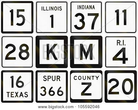 Collection Of Numbered Secondary Road Signs Used In The Usa
