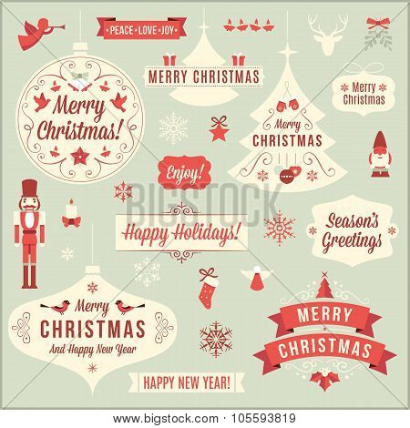 Collection Of Christmas Vector Design Elements