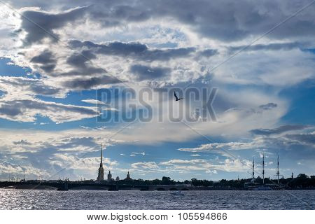 Dramatic Cloudy View Of Neva River In St.petersburg
