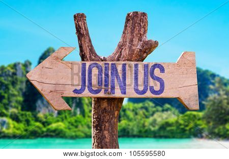 Join Us arrow with beach background