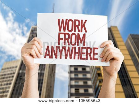 Work from Anywhere placard with urban background