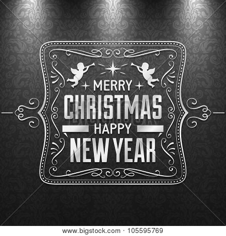 Christmas Greeting Card With Silver Text And Ornaments On A Dark Grey Background