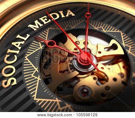 Social Media on Black-Golden Watch Face.