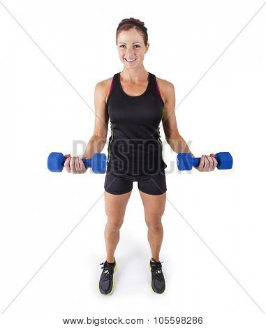 Fitness woman lifting free weights on a white background