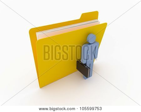 Yellow Folder With Businessman
