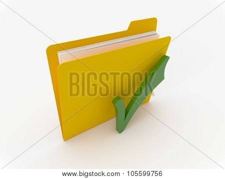 Yellow Folder With Green Check Mark