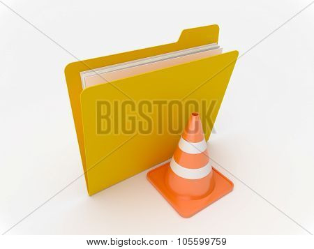 Yellow Folder With Traffic Cone