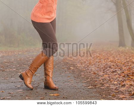 Closeup Of Woman Legs In Brown Boots. Fall Fashion