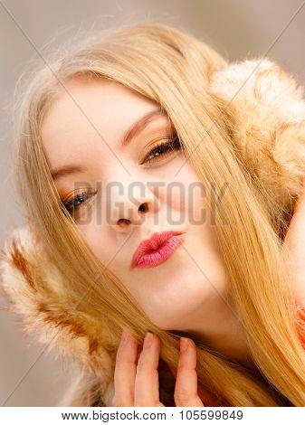 Cute Girl In Earmuffs Outdoor