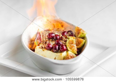 Feta cheese with orange cranberry and pecans