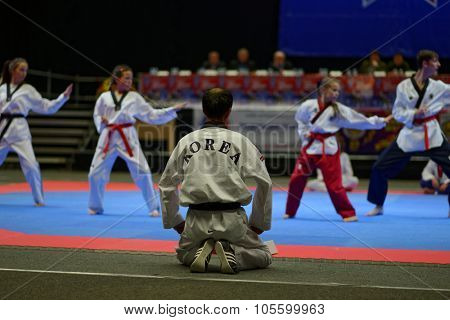 ST. PETERSBURG, RUSSIA - OCTOBER 17, 2015: Demonstration performance by taekwondo team from Nakhodka directed by Vladimir Kim (center) during the martial arts festival Baltic Sea Cup in Sibur Arena