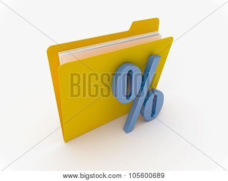 Yellow Folder With Percent Sign