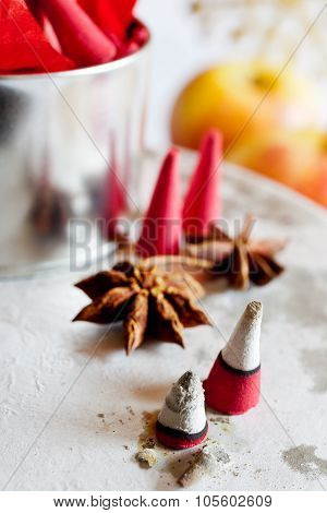 traditional Czech christmas - smoking incense cones, star snise and apples